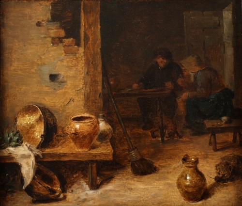 17th century - Peasants eating and drinking - attributed to David Teniers II (1610-1690)