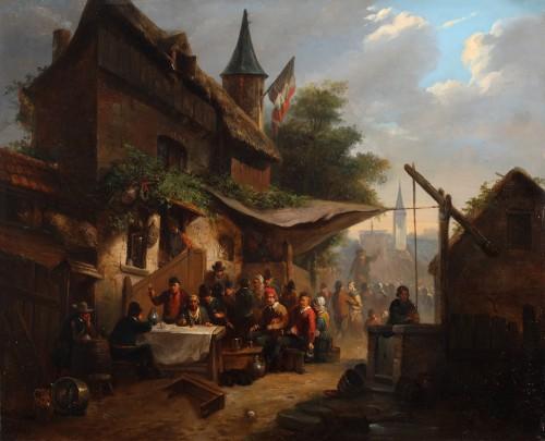 An animated town view - Eugène-François de Block (1812-1893)