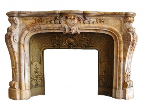 Fireplace louis xv style marble sarrancolin