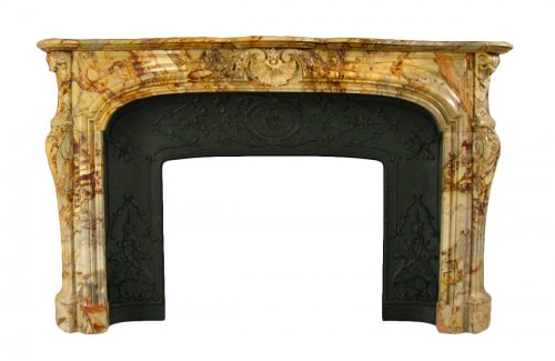 Antique louis xv style marble sarrancolin fireplace, 19th century