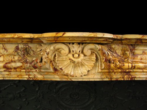 Antique louis xv style marble sarrancolin fireplace, 19th century - Architectural & Garden Style