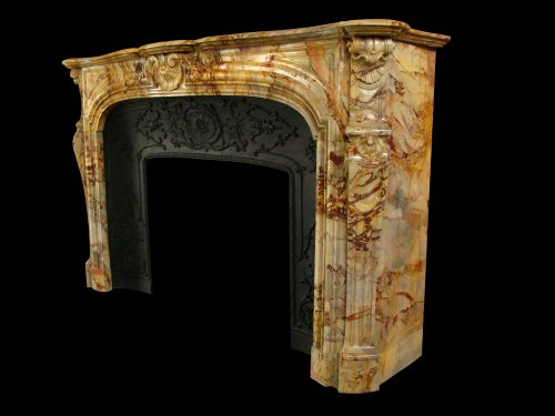 Architectural & Garden  - Antique louis xv style marble sarrancolin fireplace, 19th century