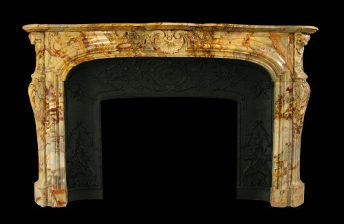Antique louis xv style marble sarrancolin fireplace, 19th century -