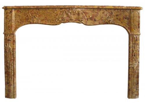 Louis XV marble brèche d'alep fireplace