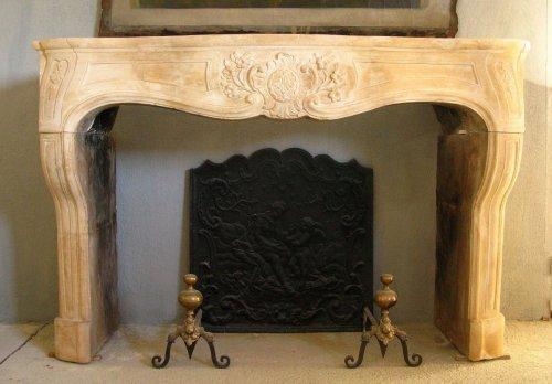 Louis XIV stone fireplace, 18th century -
