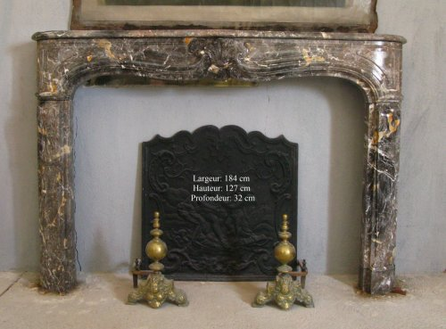 Architectural & Garden  - Louis XIV gray marble fireplace
