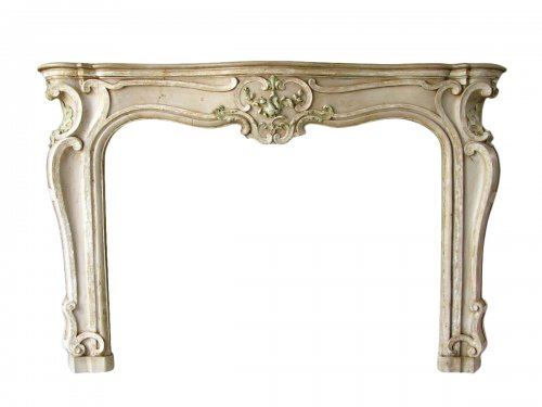 Louis xv fireplace painted limewood