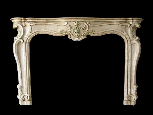 Louis xv fireplace painted limewood -