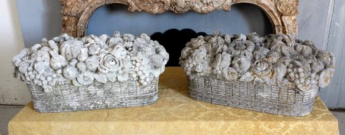 Architectural & Garden  - Pair of carved stone baskets