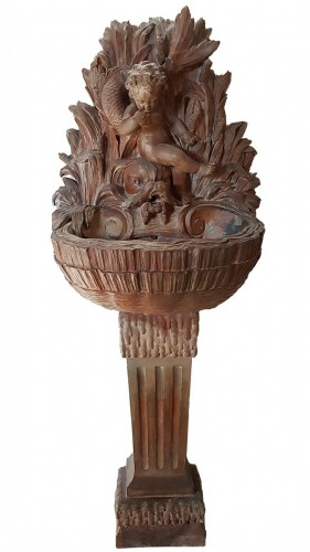 18th century Terracotta Fountain with love and dolphin