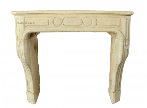 Antique Louis XIV stone fireplace
