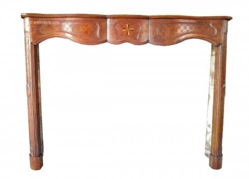 Louis XV fireplace in walnut wood 18th century