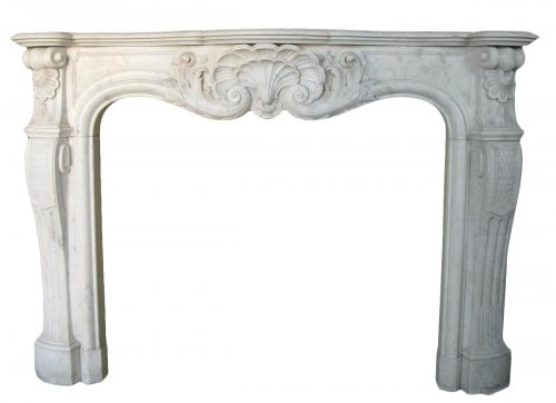 Antique Louis XV style fireplace in white marble