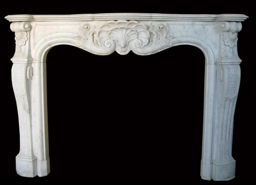 Antique Louis XV style fireplace in white marble - Architectural & Garden Style