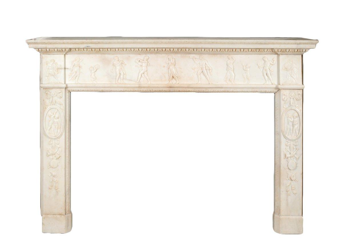 exceptionnelle chemin e louis xvi marbre blanc xviiie si cle. Black Bedroom Furniture Sets. Home Design Ideas