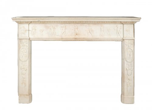 Exceptional louis xvi white marble fireplace