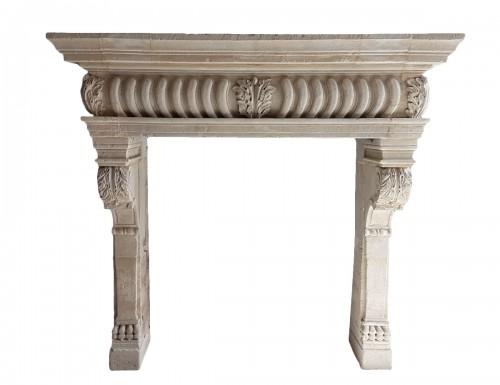 Renaissance stone fireplace