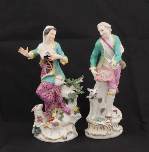 Pair of Meissen figures circa 1755 - Porcelain & Faience Style Louis XV