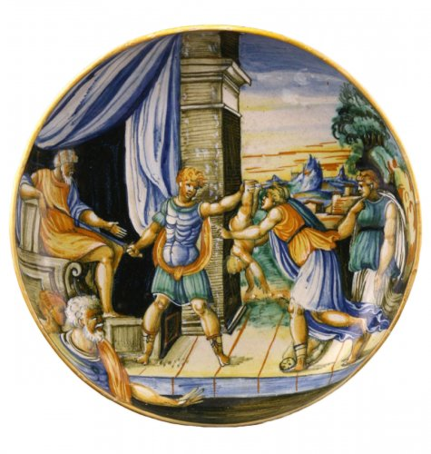 Urbino Maiolica Dish depicting the judgment of Solomon