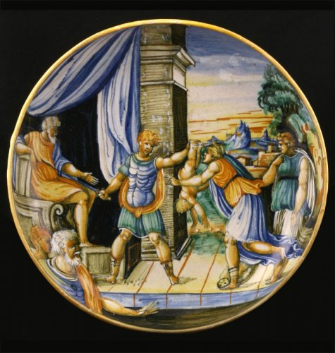 Porcelain & Faience  - Urbino Maiolica Dish depicting the judgment of Solomon