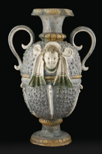 A glazed earth Ridgepole Ornament  - France Pré d'Auge - Porcelain & Faience Style
