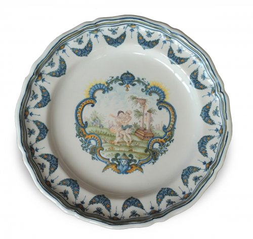 Mytological Moustiers plate, France 18th century