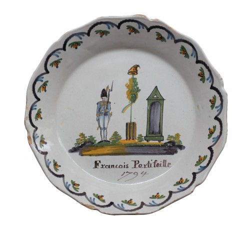 Nevers faience plate with revolutionary decor