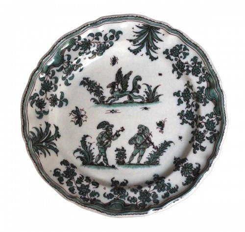 18th century Moustiers plate with grotesques
