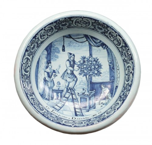 Rouen faience bowl « Jacques Daussy 1719 »