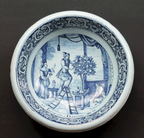 Rouen faience bowl « Jacques Daussy 1719 » - Porcelain & Faience Style