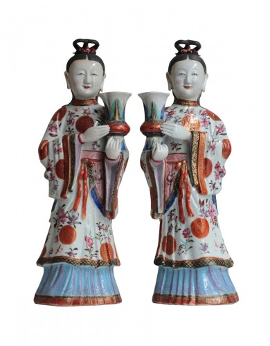 A pair of tall statues, China Qhianlong Period