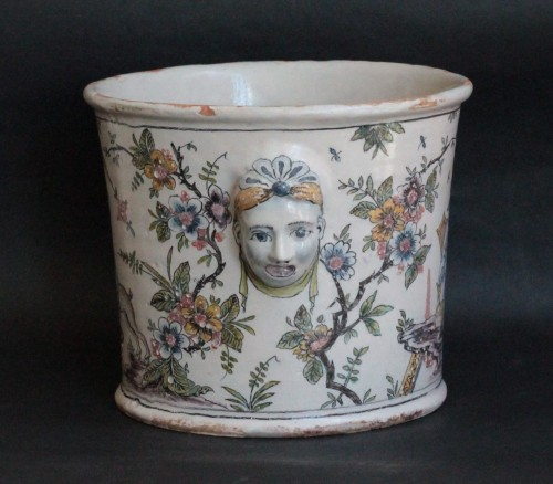 18th century Bottle Cooler from Lyon or Moulins - Porcelain & Faience Style