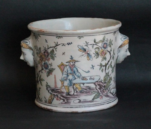 Porcelain & Faience  - 18th century Bottle Cooler from Lyon or Moulins