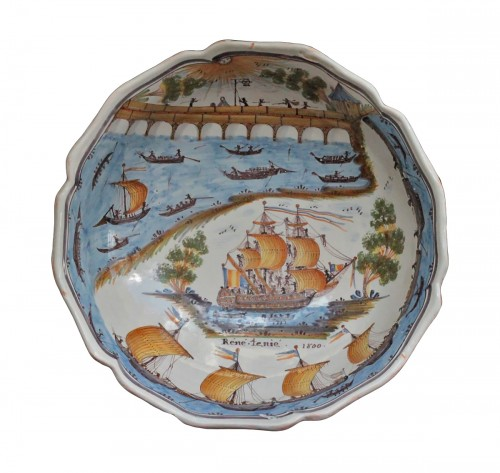 "Large Faience Dish of Nevers ""René Tenié"""