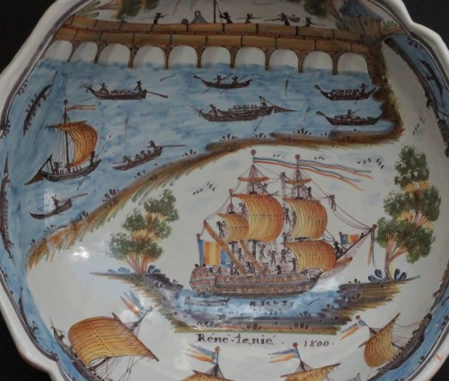 "Porcelain & Faience  - Large Faience Dish of Nevers ""René Tenié"""