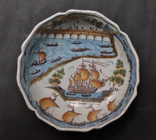 "18th century - Large Faience Dish of Nevers ""René Tenié"""