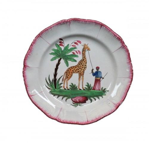 Dish with a giraffe, Les Islettes France, 19th century