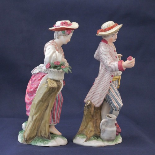 Pair of Niderviller earthenware statuettes - Porcelain & Faience Style