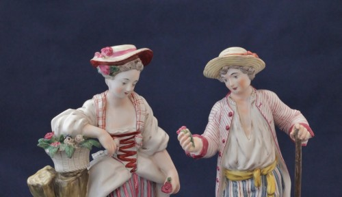 18th century - Pair of Niderviller earthenware statuettes
