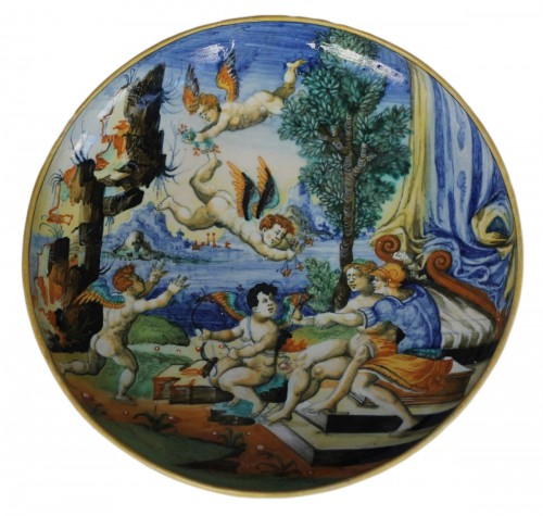 URBINO, Cup representing the loves of mars and venus with four loves. 16th