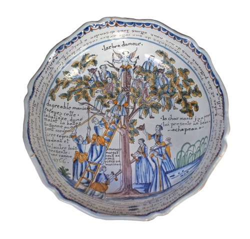 "Nevers, Bowl with decoration ""the tree of love"" 18th century"