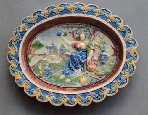 Enamelled terracotta dish -
