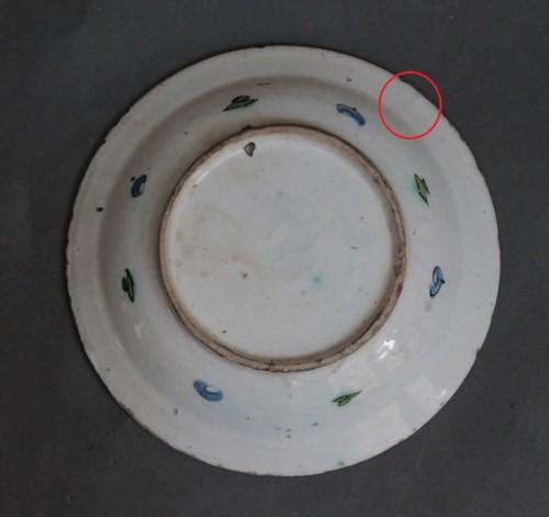 Antiquités - Siliceous ceramic dish from Iznik, carnations, tulips and saz palm. 17th c.