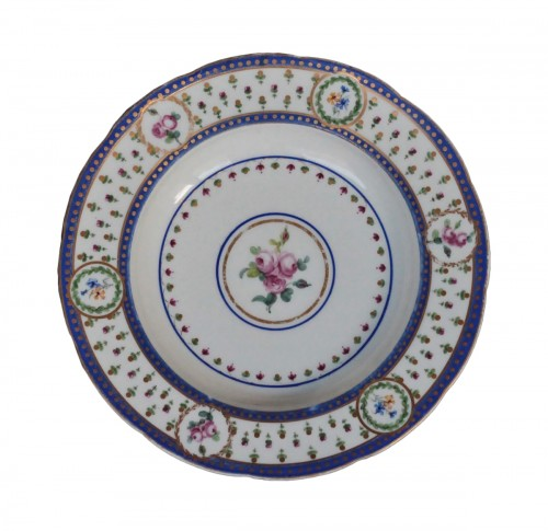 "Soup plate in soft Sèvres porcelain from the ""Bombelles"" service, 18th century"