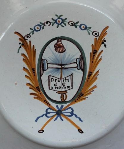 """Porcelain & Faience  - Plate in Nevers (France) earthenware """"Les Droits de l'Homme"""", 18th century"""