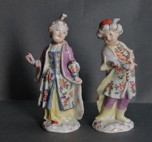 Louis XV - Two statuettes of children in Turkish Costume in Meissen porcelain, 18th