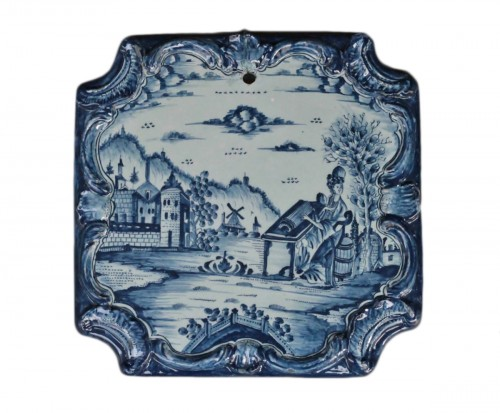 Square Tile Picture in Delft earthenware, PVB mark Circa 1740-1750.