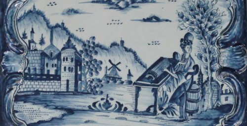 Porcelain & Faience  - Square Tile Picture in Delft earthenware, PVB mark Circa 1740-1750.