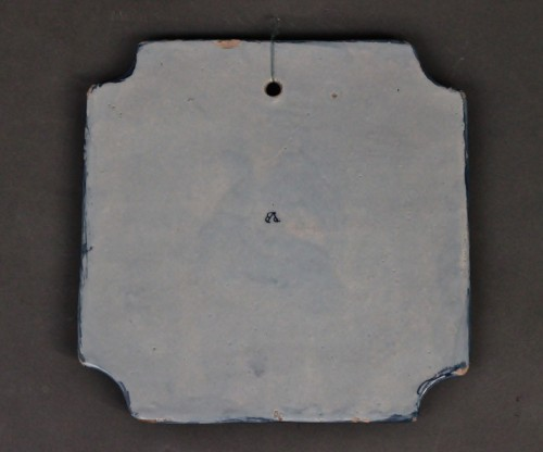 Square Tile Picture in Delft earthenware, PVB mark Circa 1740-1750. -