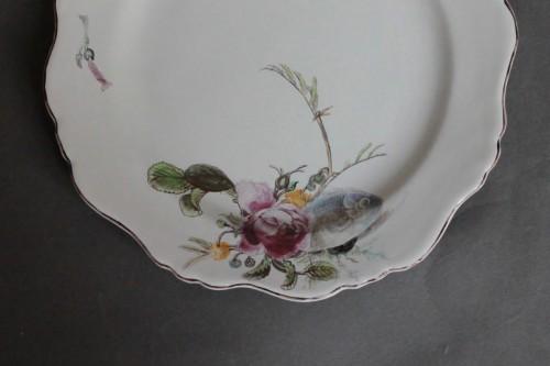 """Porcelain & Faience  - Marseille, Plate with decoration said """"à la bouillabaisse"""", 18th century"""